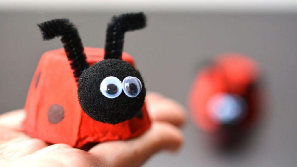 Kids childcare DIY activity: Egg Carton Ladybugs