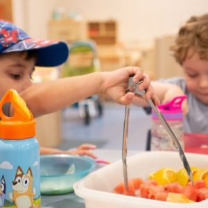 Kids Eating Fruit Snacks - Daisy Hill Early Learning Centre